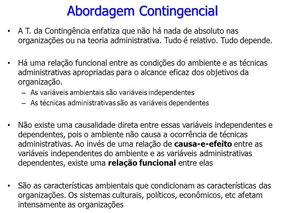 A T. da Contingência enfatiza que não há nada de absoluto nas organizações ou na teoria administrativa. Tudo é relativo. Tudo depende. Há uma relação