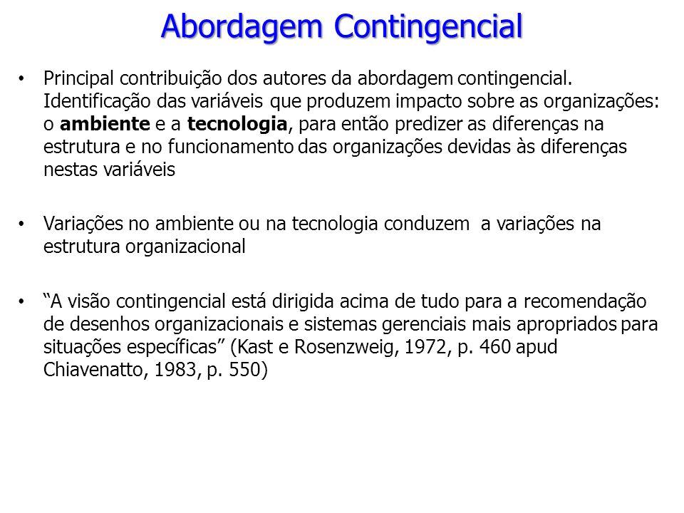 Principal contribuição dos autores da abordagem contingencial. Identificação das variáveis que produzem impacto sobre as organizações: o ambiente e a