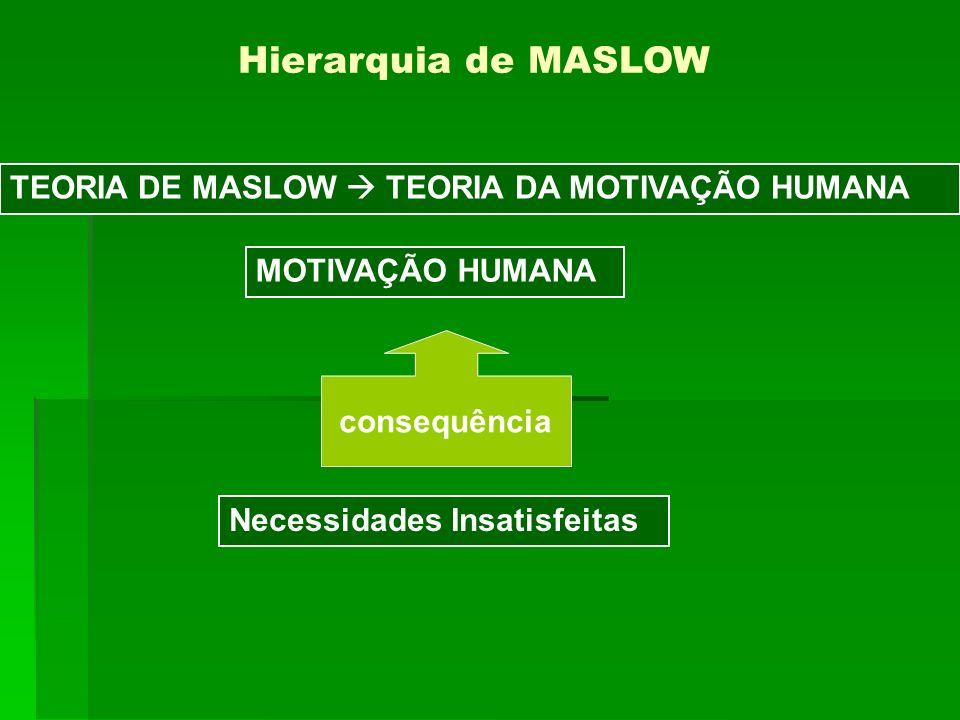 TEORIA DE MASLOW TEORIA DA MOTIVAÇÃO HUMANA Hierarquia de MASLOW Necessidades Insatisfeitas MOTIVAÇÃO HUMANA consequência