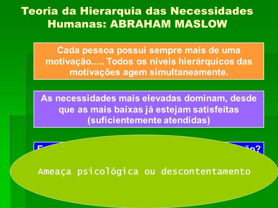Teoria da Hierarquia das Necessidades Humanas: ABRAHAM MASLOW Cada pessoa possui sempre mais de uma motivação..... Todos os níveis hierárquicos das mo