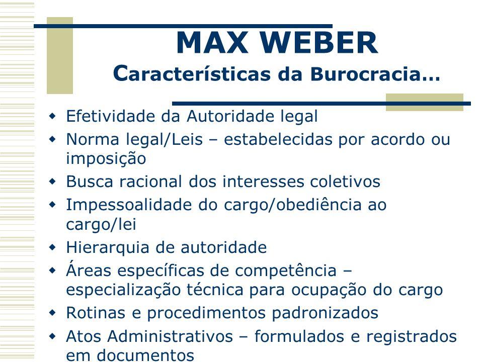 Efetividade da Autoridade legal Norma legal/Leis – estabelecidas por acordo ou imposição Busca racional dos interesses coletivos Impessoalidade do car