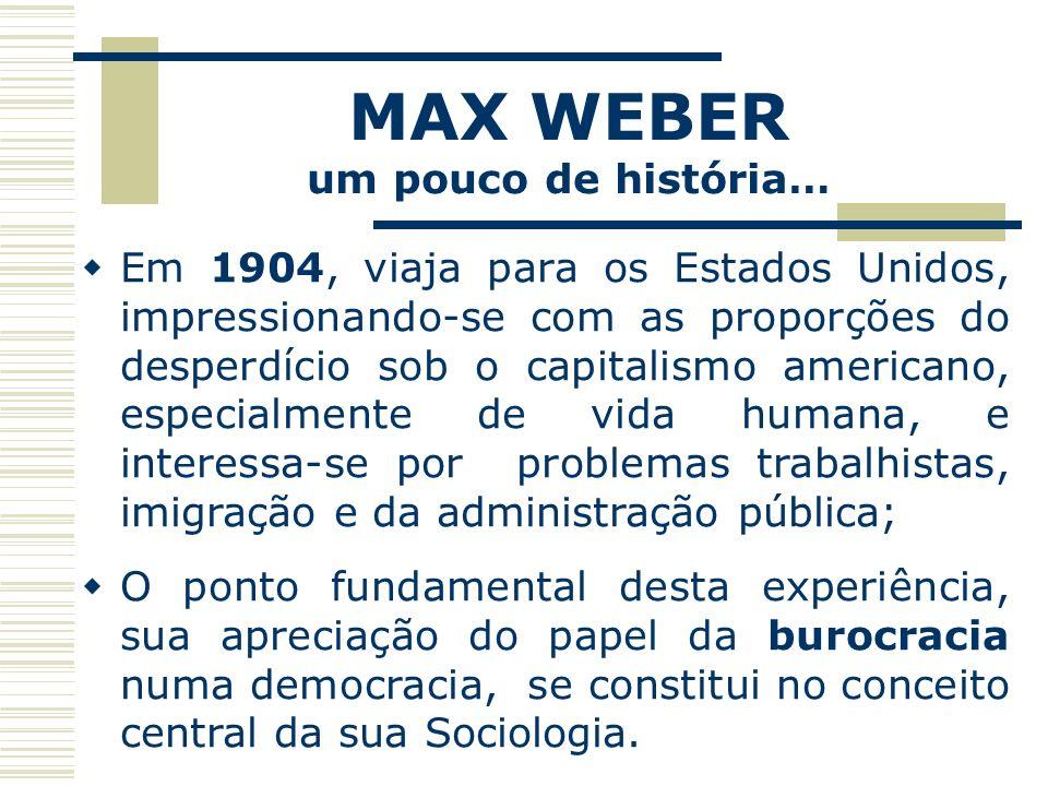 MAX WEBER um pouco de história… Em 1904, viaja para os Estados Unidos, impressionando-se com as proporções do desperdício sob o capitalismo americano,