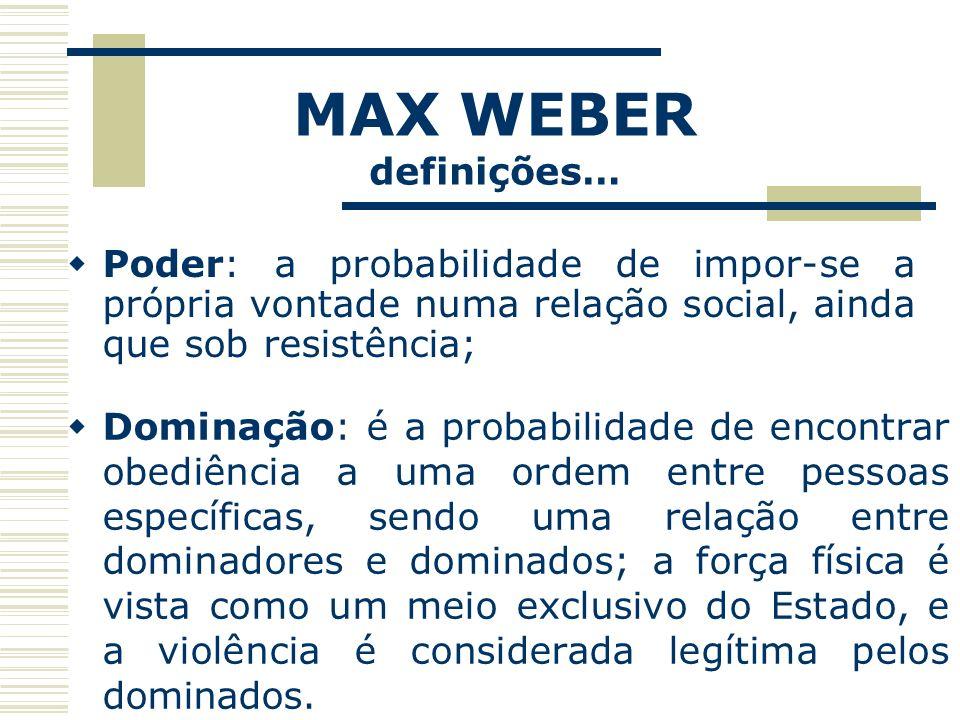 MAX WEBER definições… Poder: a probabilidade de impor-se a própria vontade numa relação social, ainda que sob resistência; Dominação: é a probabilidad