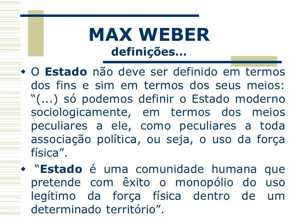 MAX WEBER definições… O Estado não deve ser definido em termos dos fins e sim em termos dos seus meios: (...) só podemos definir o Estado moderno soci