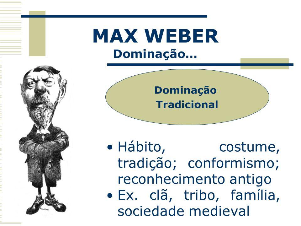 MAX WEBER Dominação… Dominação Tradicional Hábito, costume, tradição; conformismo; reconhecimento antigo Ex. clã, tribo, família, sociedade medieval