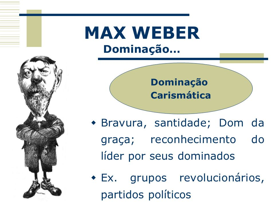 MAX WEBER Dominação… Dominação Carismática Bravura, santidade; Dom da graça; reconhecimento do líder por seus dominados Ex. grupos revolucionários, pa