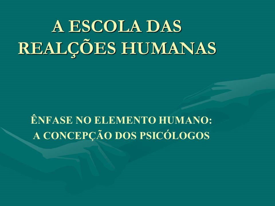 A ESCOLA DAS REALÇÕES HUMANAS ÊNFASE NO ELEMENTO HUMANO: A CONCEPÇÃO DOS PSICÓLOGOS
