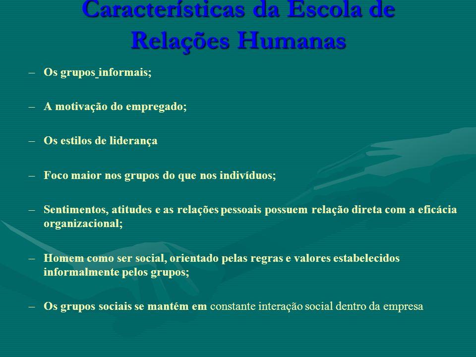 Características da Escola de Relações Humanas – –Os grupos informais; – –A motivação do empregado; – –Os estilos de liderança – –Foco maior nos grupos