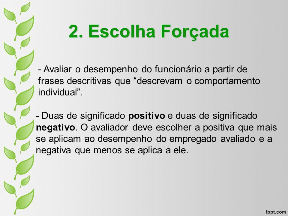 2. Escolha Forçada - Avaliar o desempenho do funcionário a partir de frases descritivas que descrevam o comportamento individual. - Duas de significad