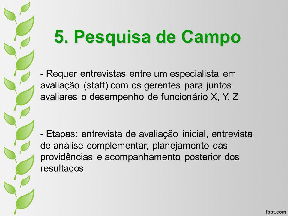 5. Pesquisa de Campo - Requer entrevistas entre um especialista em avaliação (staff) com os gerentes para juntos avaliares o desempenho de funcionário