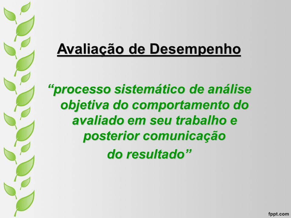 Avaliação de Desempenho processo sistemático de análise objetiva do comportamento do avaliado em seu trabalho e posterior comunicação do resultado