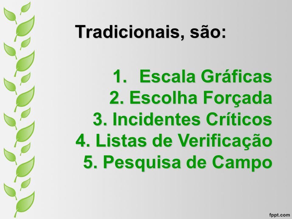 Tradicionais, são: 1.Escala Gráficas 2. Escolha Forçada 3. Incidentes Críticos 4. Listas de Verificação 5. Pesquisa de Campo