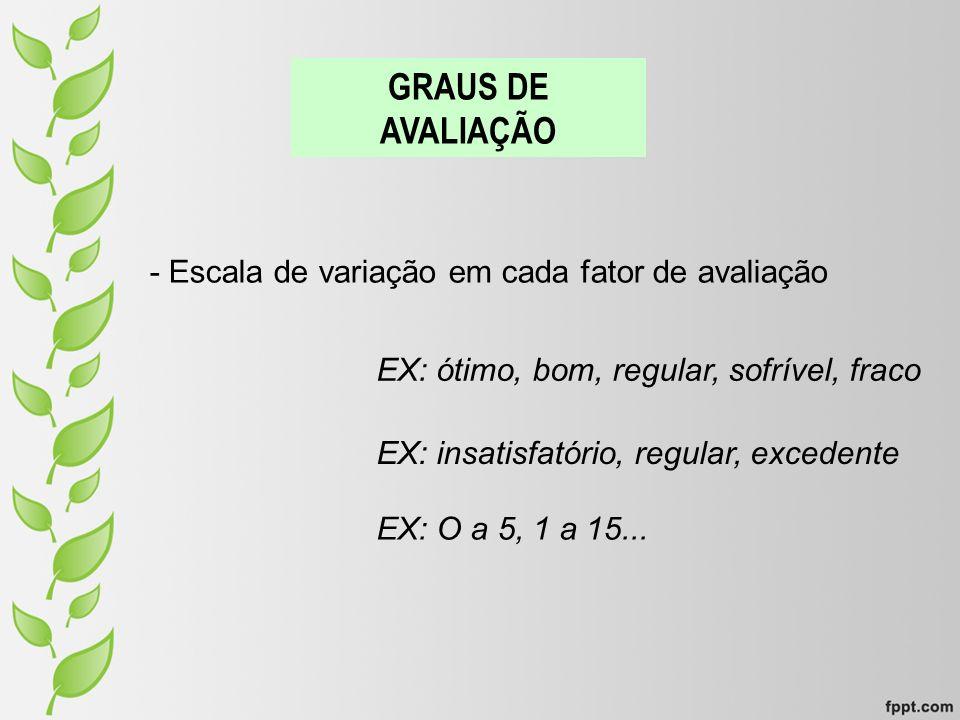 GRAUS DE AVALIAÇÃO - Escala de variação em cada fator de avaliação EX: ótimo, bom, regular, sofrível, fraco EX: insatisfatório, regular, excedente EX: