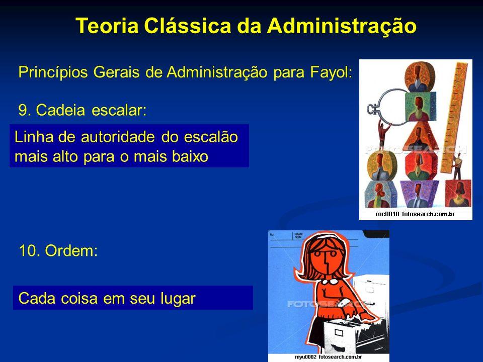 Teoria Clássica da Administração Princípios Gerais de Administração para Fayol: 9. Cadeia escalar: Linha de autoridade do escalão mais alto para o mai