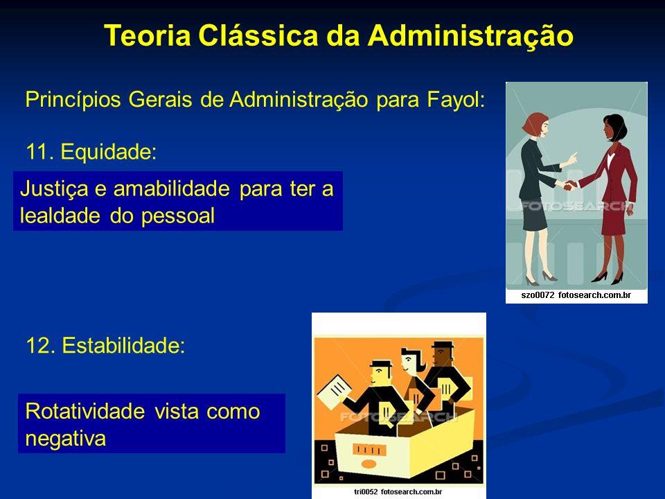 Teoria Clássica da Administração Princípios Gerais de Administração para Fayol: 11. Equidade: Justiça e amabilidade para ter a lealdade do pessoal 12.