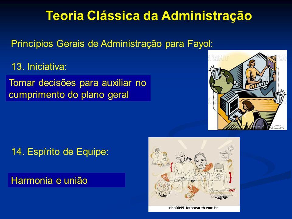 Teoria Clássica da Administração Princípios Gerais de Administração para Fayol: 13. Iniciativa: Tomar decisões para auxiliar no cumprimento do plano g