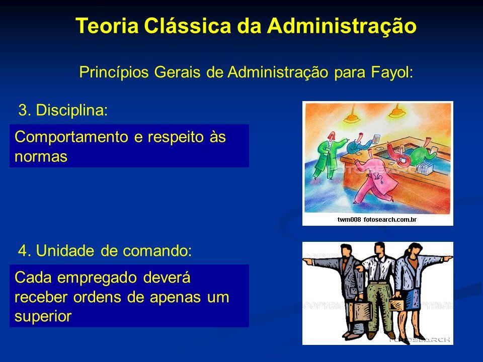 Teoria Clássica da Administração Princípios Gerais de Administração para Fayol: 3. Disciplina: Comportamento e respeito às normas 4. Unidade de comand