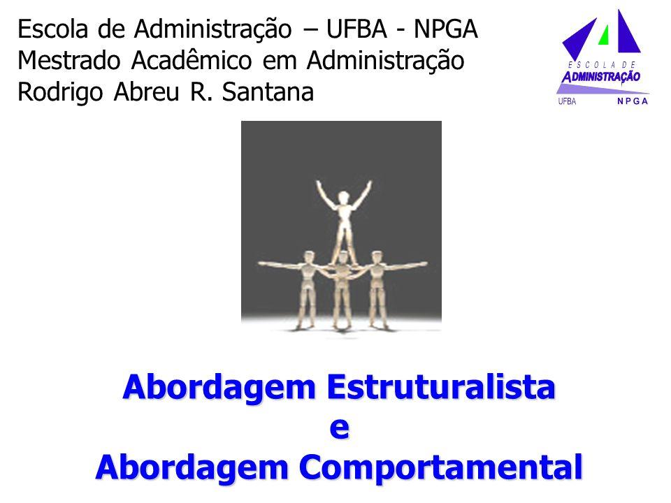 Abordagem Estruturalista e Abordagem Comportamental Escola de Administração – UFBA - NPGA Mestrado Acadêmico em Administração Rodrigo Abreu R. Santana