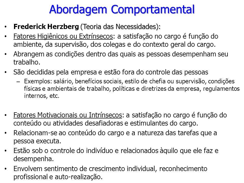 Abordagem Comportamental (Teoria das Necessidades): Frederick Herzberg (Teoria das Necessidades): Fatores Higiênicos ou Extrínsecos: a satisfação no c
