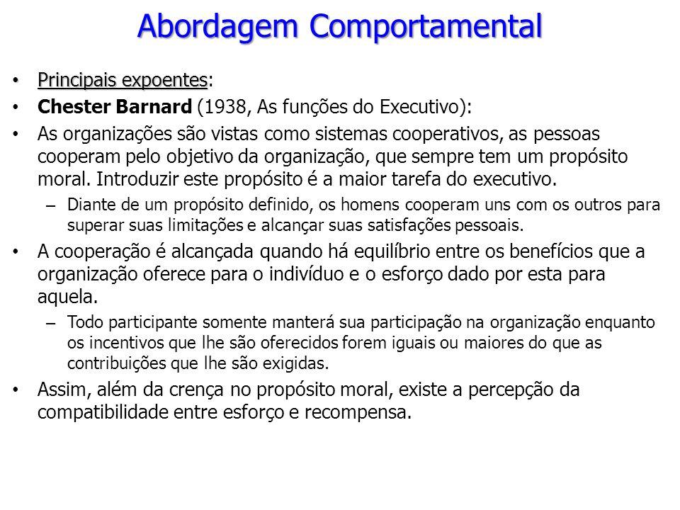 Principais expoentes Principais expoentes: Chester Barnard (1938, As funções do Executivo): As organizações são vistas como sistemas cooperativos, as