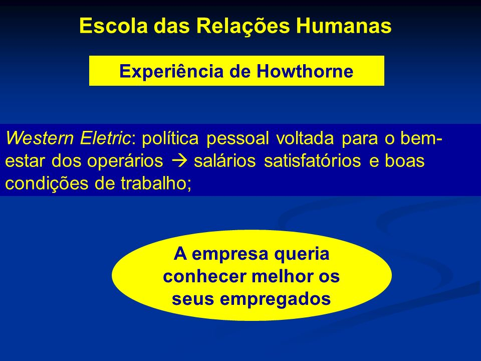 Experiência de Howthorne Escola das Relações Humanas Western Eletric: política pessoal voltada para o bem- estar dos operários salários satisfatórios