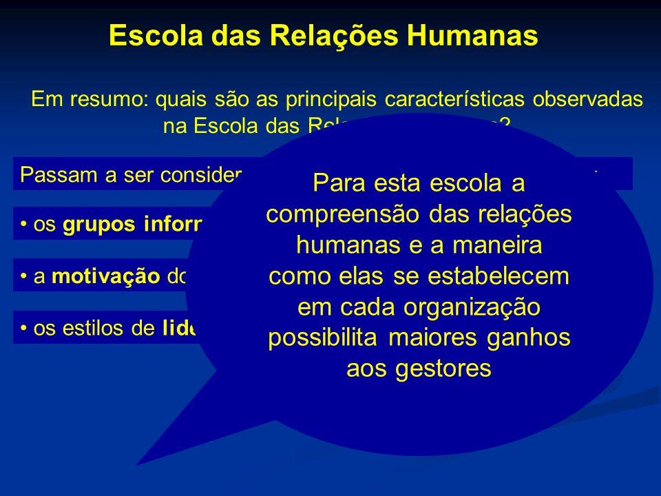 Em resumo: quais são as principais características observadas na Escola das Relações Humanas? Passam a ser considerados nos estudos das organizações: