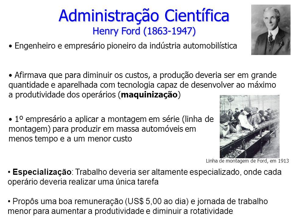 Administração Científica Henry Ford (1863-1947) Engenheiro e empresário pioneiro da indústria automobilística Afirmava que para diminuir os custos, a