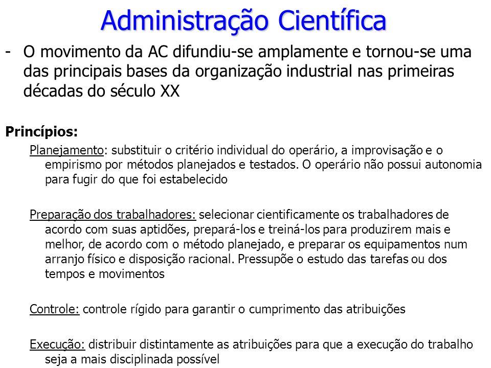 Administração Científica -O movimento da AC difundiu-se amplamente e tornou-se uma das principais bases da organização industrial nas primeiras década