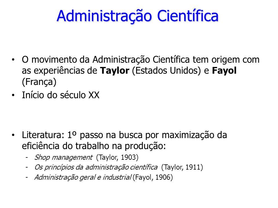 Administração Científica O movimento da Administração Científica tem origem com as experiências de Taylor (Estados Unidos) e Fayol (França) Início do