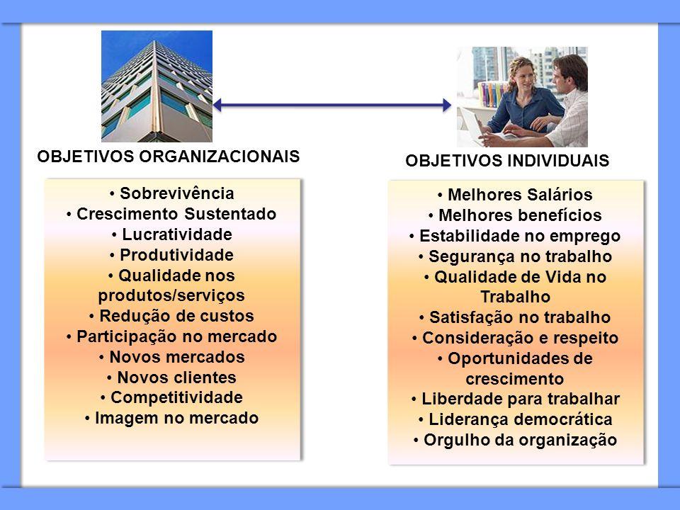 OBJETIVOS ORGANIZACIONAIS OBJETIVOS INDIVIDUAIS Sobrevivência Crescimento Sustentado Lucratividade Produtividade Qualidade nos produtos/serviços Reduç