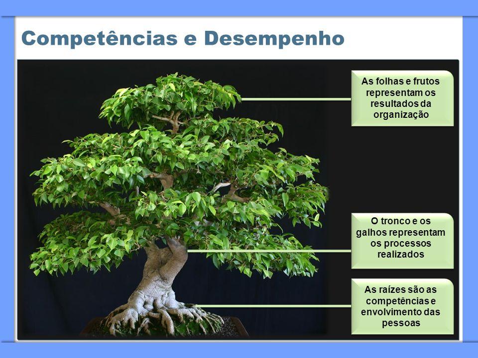 Competências e Desempenho As folhas e frutos representam os resultados da organização O tronco e os galhos representam os processos realizados As raíz