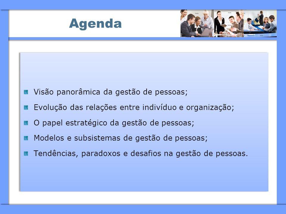 Agenda Visão panorâmica da gestão de pessoas; Evolução das relações entre indivíduo e organização; O papel estratégico da gestão de pessoas; Modelos e