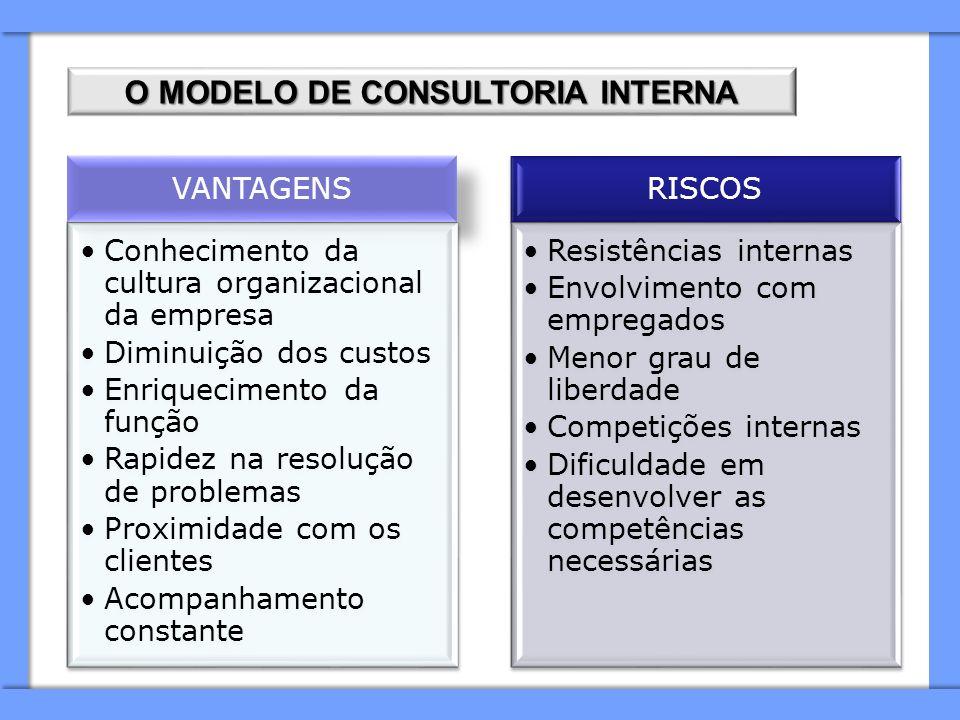 O MODELO DE CONSULTORIA INTERNA VANTAGENS Conhecimento da cultura organizacional da empresa Diminuição dos custos Enriquecimento da função Rapidez na