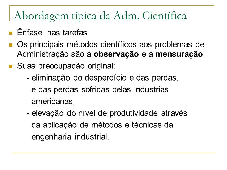 Abordagem típica da Adm. Científica Ênfase nas tarefas Os principais métodos científicos aos problemas de Administração são a observação e a mensuraçã