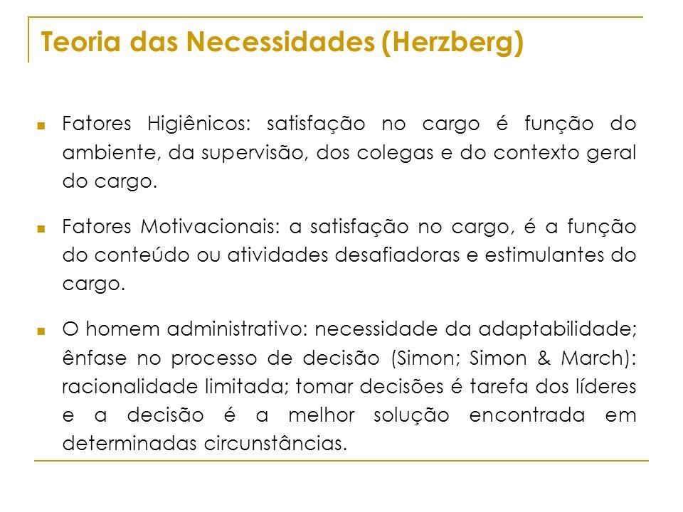 Teoria das Necessidades (Herzberg) Fatores Higiênicos: satisfação no cargo é função do ambiente, da supervisão, dos colegas e do contexto geral do car