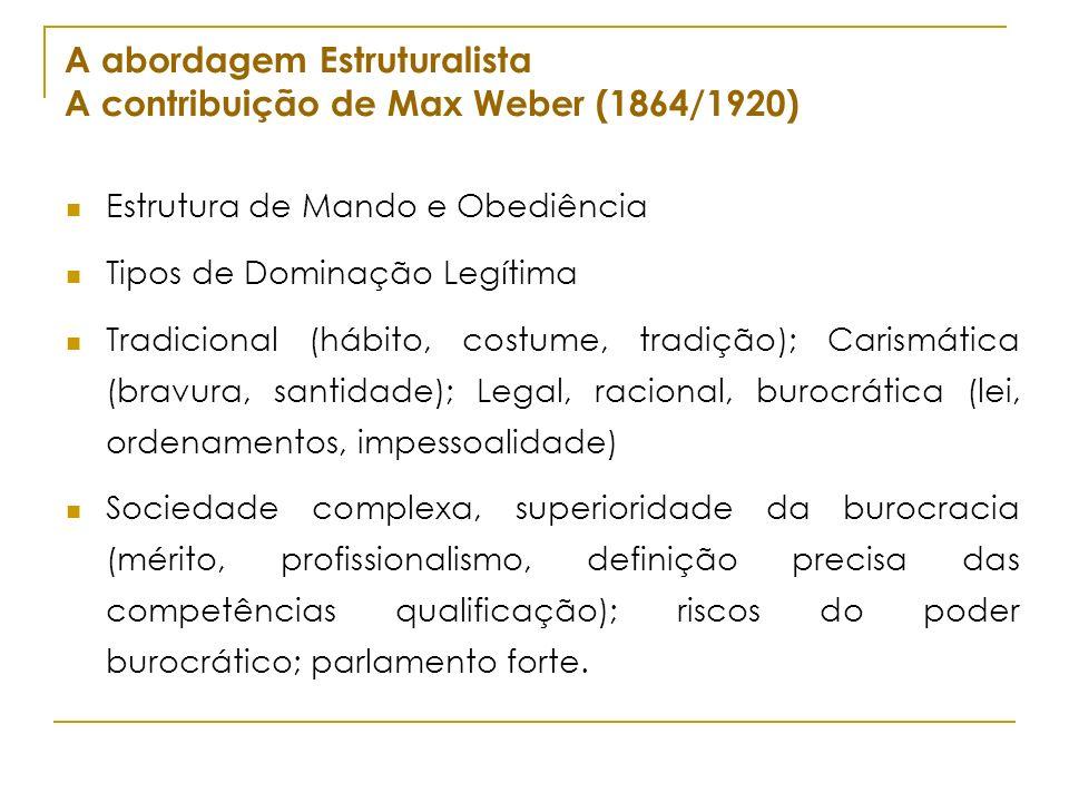 A abordagem Estruturalista A contribuição de Max Weber (1864/1920) Estrutura de Mando e Obediência Tipos de Dominação Legítima Tradicional (hábito, co