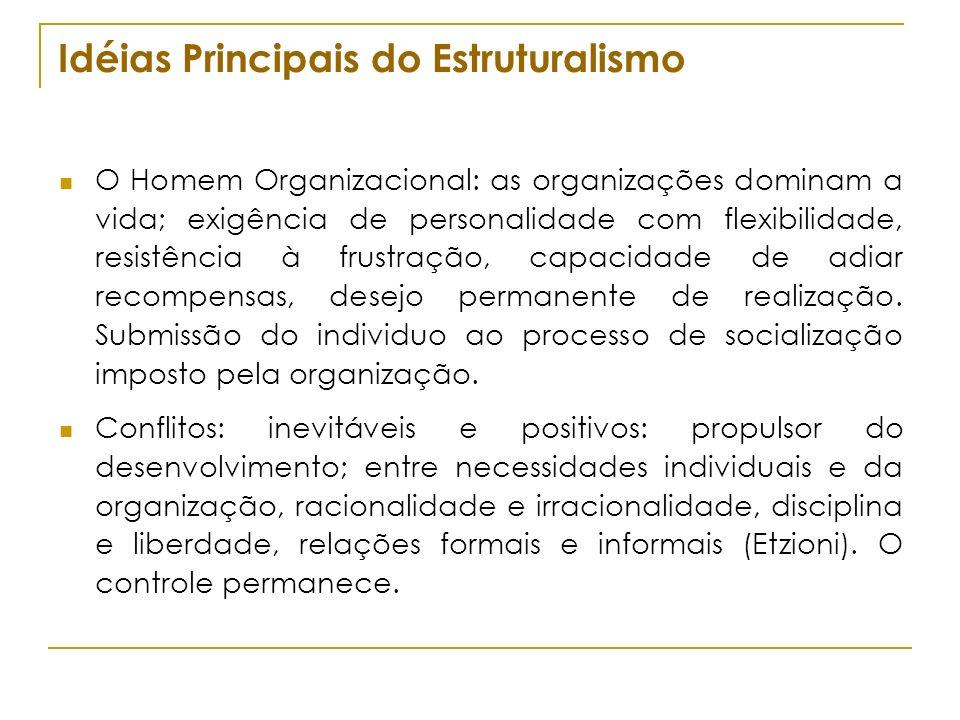 Idéias Principais do Estruturalismo O Homem Organizacional: as organizações dominam a vida; exigência de personalidade com flexibilidade, resistência