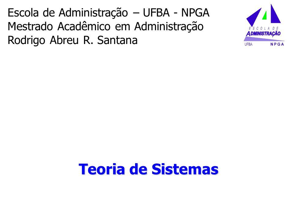 Teoria de Sistemas Escola de Administração – UFBA - NPGA Mestrado Acadêmico em Administração Rodrigo Abreu R. Santana