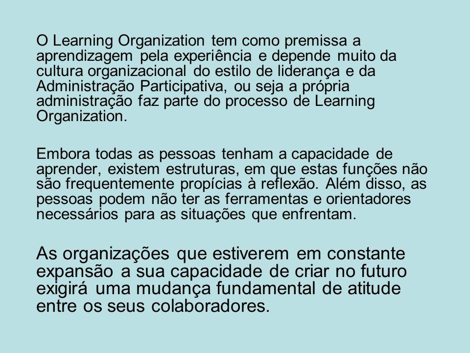 O Learning Organization tem como premissa a aprendizagem pela experiência e depende muito da cultura organizacional do estilo de liderança e da Admini