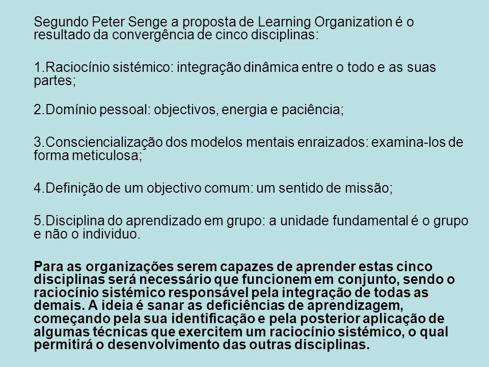 Segundo Peter Senge a proposta de Learning Organization é o resultado da convergência de cinco disciplinas: 1.Raciocínio sistémico: integração dinâmic