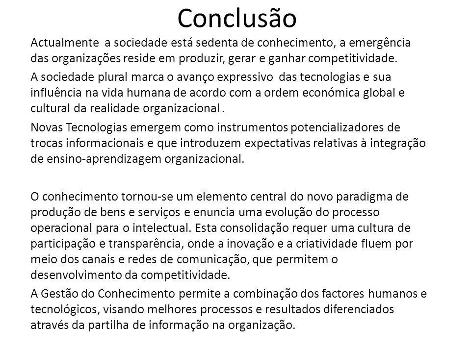 Conclusão Actualmente a sociedade está sedenta de conhecimento, a emergência das organizações reside em produzir, gerar e ganhar competitividade. A so