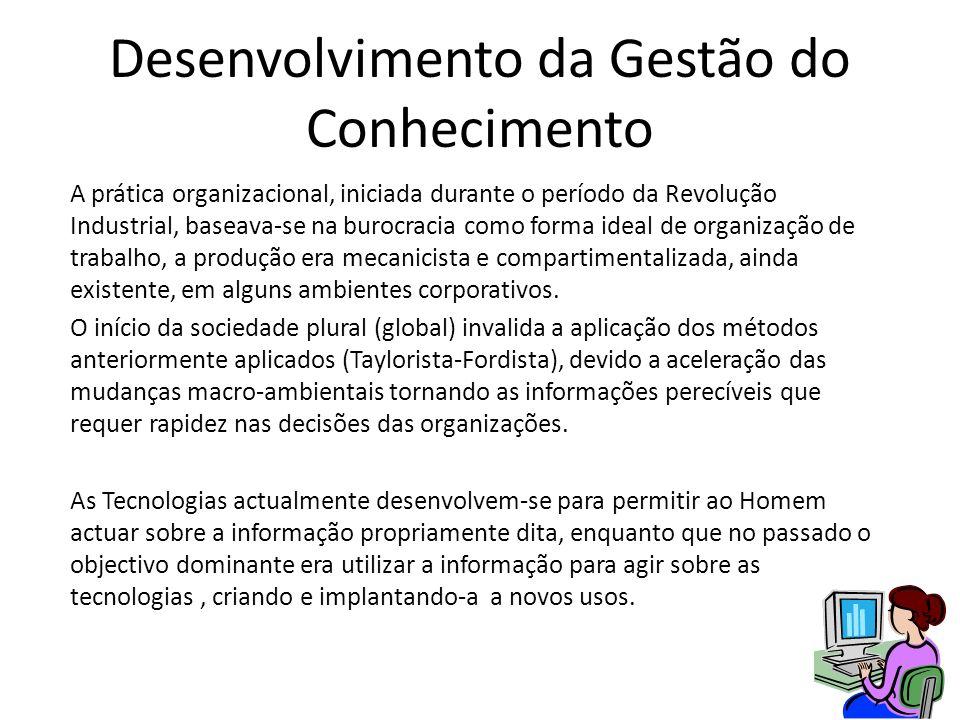 Desenvolvimento da Gestão do Conhecimento A prática organizacional, iniciada durante o período da Revolução Industrial, baseava-se na burocracia como