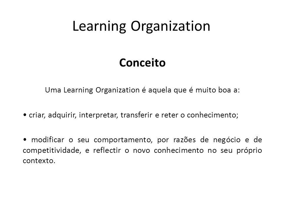 Learning Organization Conceito Uma Learning Organization é aquela que é muito boa a: criar, adquirir, interpretar, transferir e reter o conhecimento;