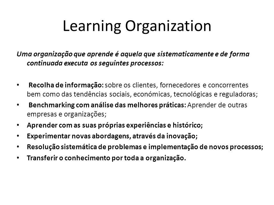 Learning Organization Uma organização que aprende é aquela que sistematicamente e de forma continuada executa os seguintes processos: Recolha de infor
