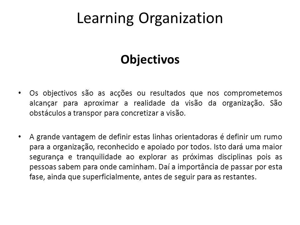 Learning Organization Objectivos Os objectivos são as acções ou resultados que nos comprometemos alcançar para aproximar a realidade da visão da organ