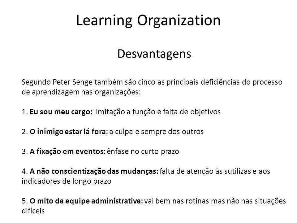 Desvantagens Segundo Peter Senge também são cinco as principais deficiências do processo de aprendizagem nas organizações: 1. Eu sou meu cargo: limita