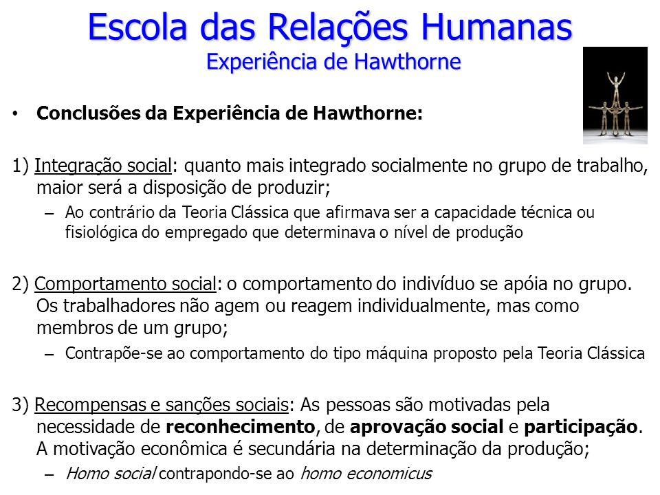 Conclusões da Experiência de Hawthorne: 1) Integração social: quanto mais integrado socialmente no grupo de trabalho, maior será a disposição de produ