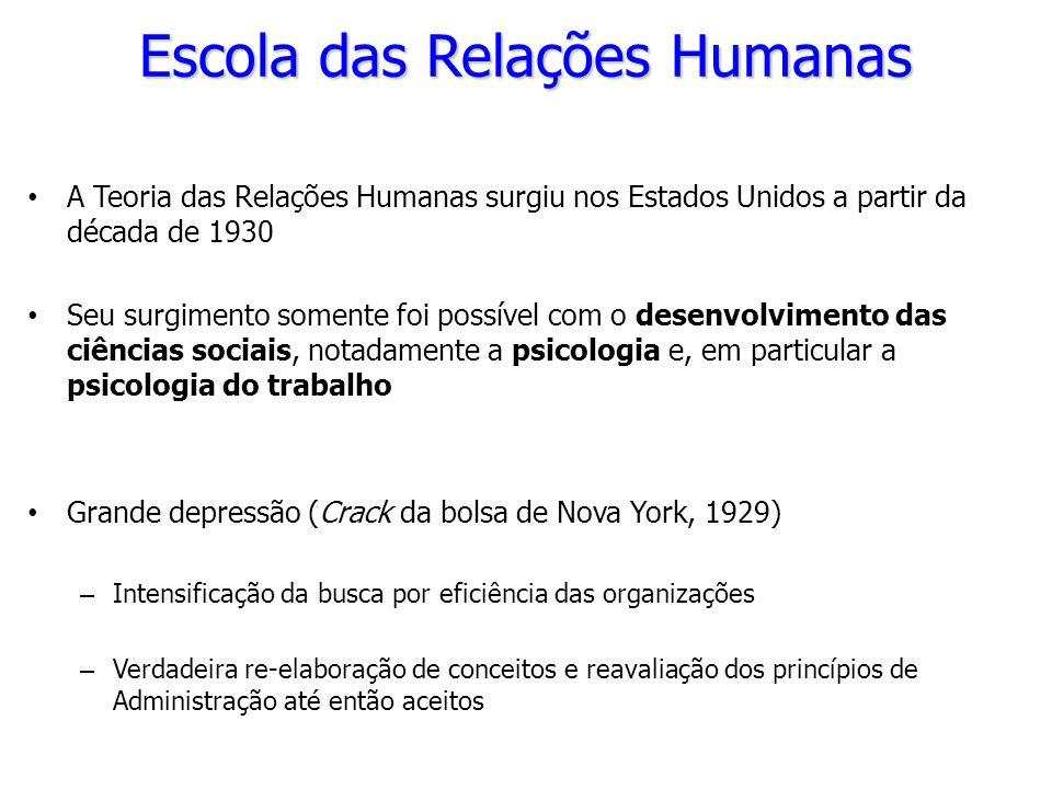 A Teoria das Relações Humanas surgiu nos Estados Unidos a partir da década de 1930 Seu surgimento somente foi possível com o desenvolvimento das ciênc