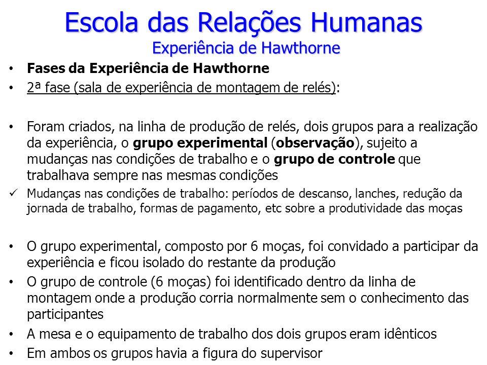 Fases da Experiência de Hawthorne 2ª fase (sala de experiência de montagem de relés): Foram criados, na linha de produção de relés, dois grupos para a