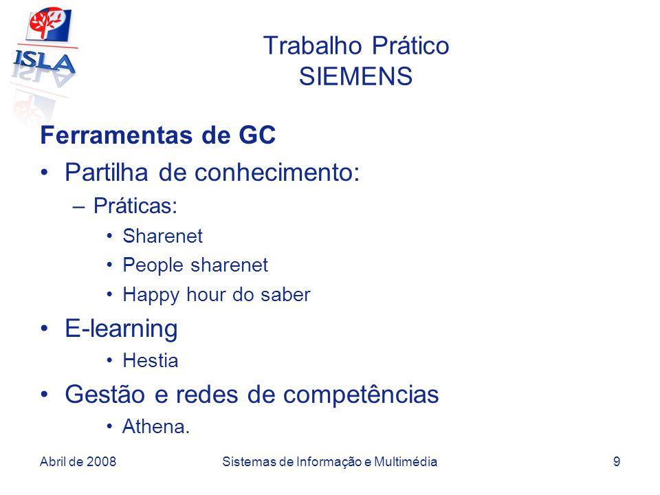 Abril de 2008Sistemas de Informação e Multimédia9 Trabalho Prático SIEMENS Ferramentas de GC Partilha de conhecimento: –Práticas: Sharenet People shar
